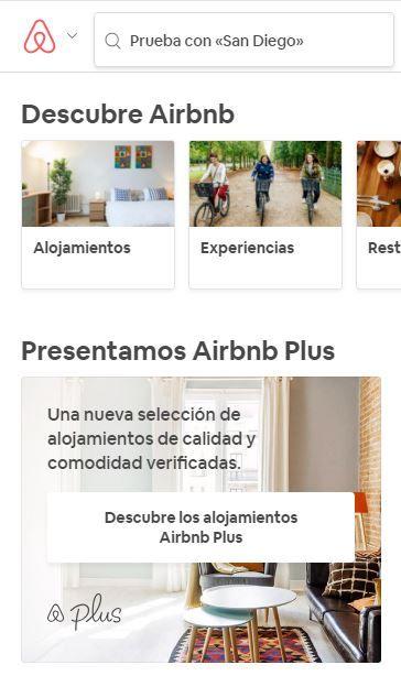 Web de Airbnb desde móvil