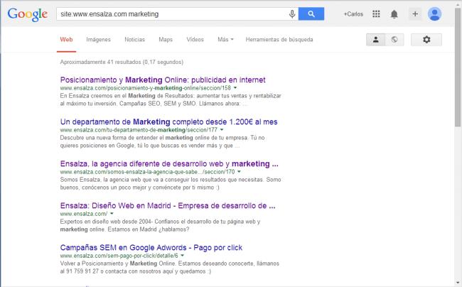 """Ejemplo de búsqueda en google usando el atributo """"site"""""""