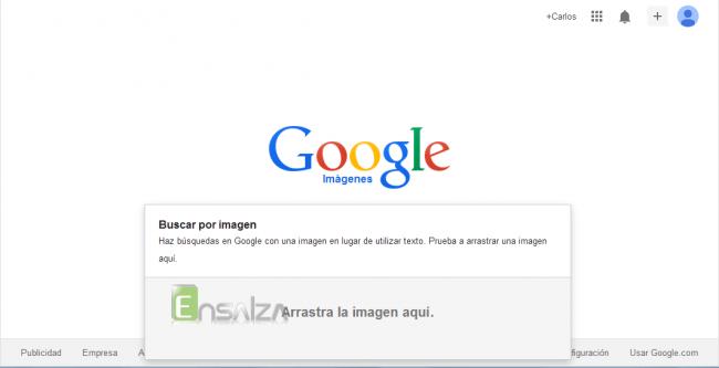 Arrastra la imagen al cuadro que Google genera