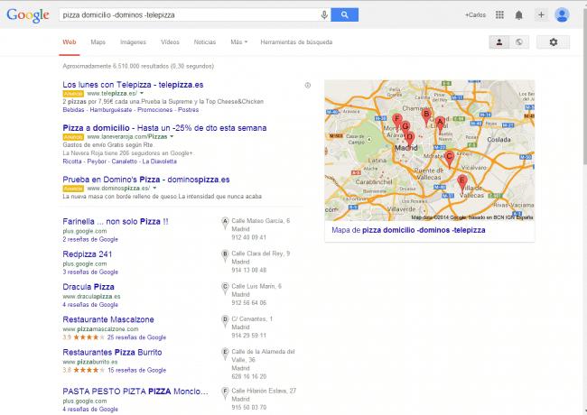 ejemplo de búsqueda con exclusión