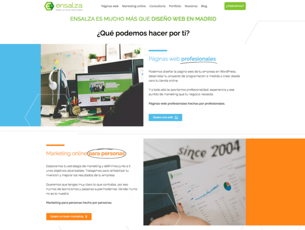 ejemplo cta en web de ensalza