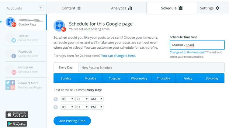 elegir horarios de publicación en buffer