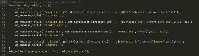 cargar estilos WP por PHP