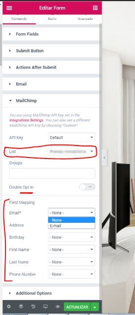 configurar formulario elementor mailchimp jpg