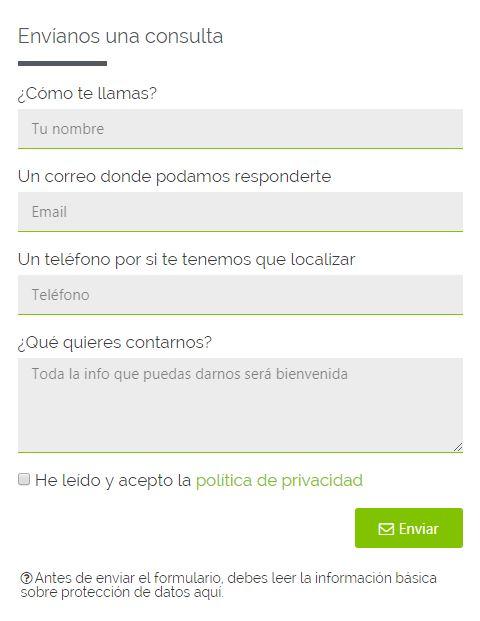 ejemplo formulario de contacto
