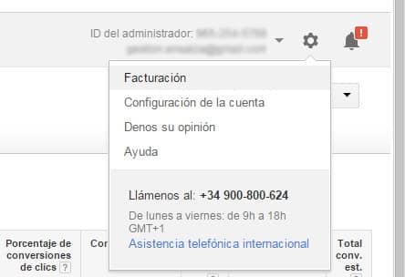 Acceder a las opciones de facturación de Google Adwords