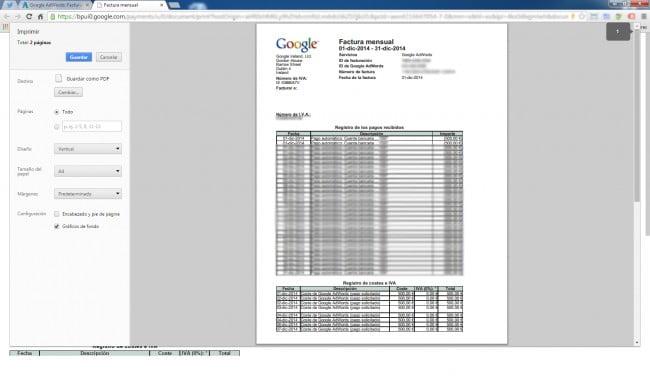 Exportar facturas de Google Adwords en PDF con Google Chrome