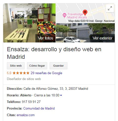 ficha de ensalza en Google My Business