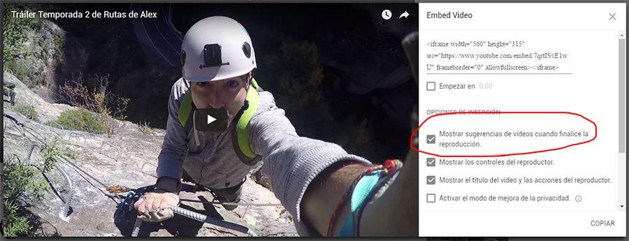 No mostrar sugerencias en videos de youtube