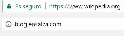 Página no segura o certificado SSL