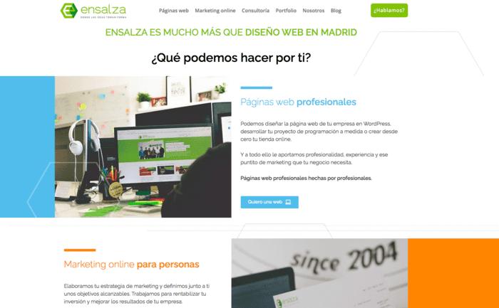 ejemplo pagina web con menu sticky de la agencia ensalza