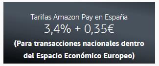 Tarifas Amazon Pay en España