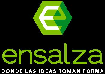 Logo Ensalza transparente y letras de claim Blancas