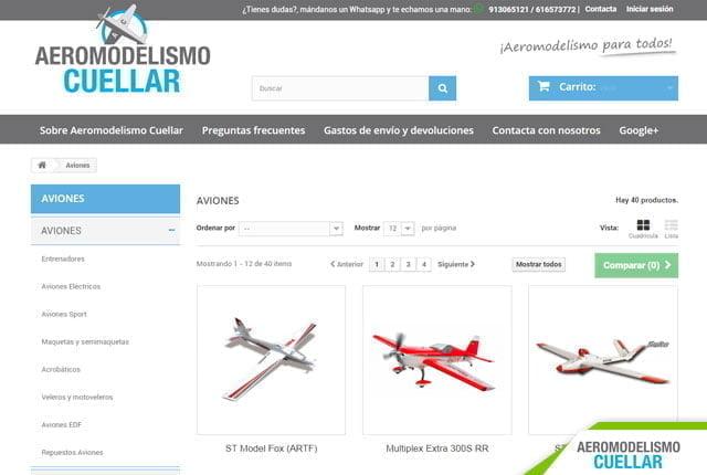 tienda online aeromodelismo diseñada por ensalza